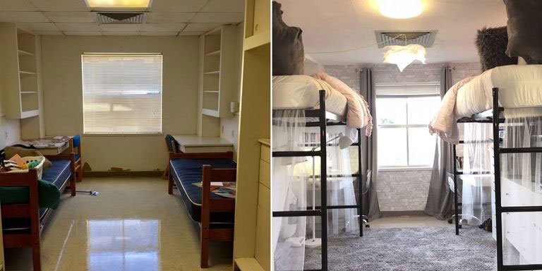 Texas State University Before-and-After Photos of Dorm Room