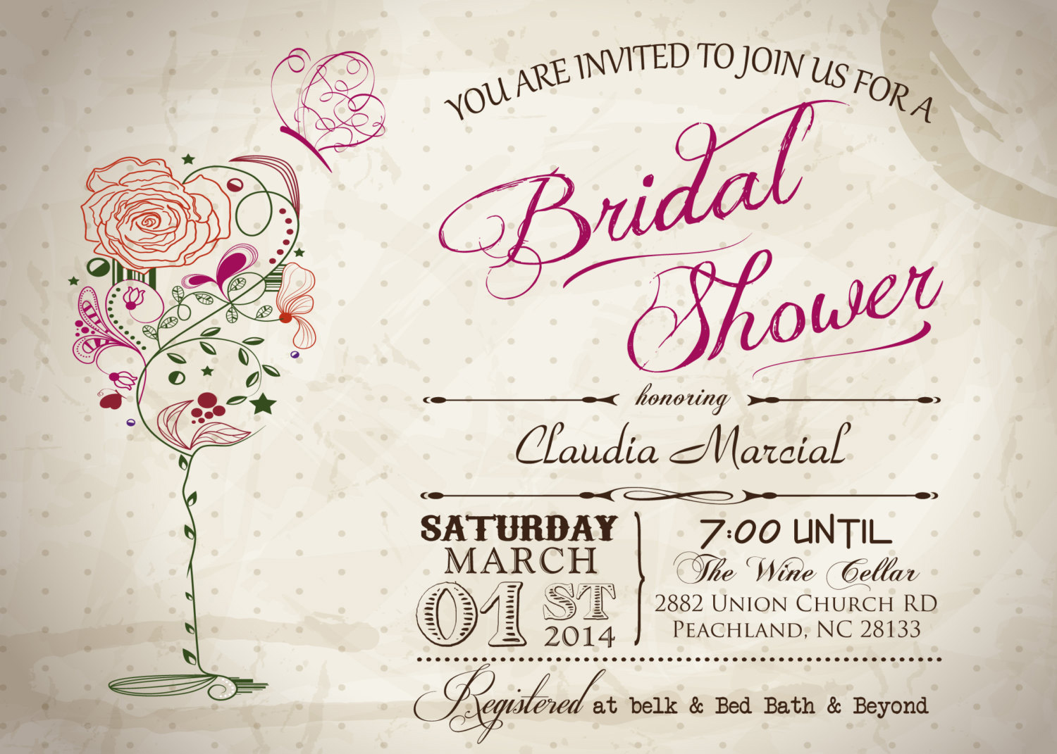 Vintage Wine U0026 Butterfly Bridal Shower Printable Invitation