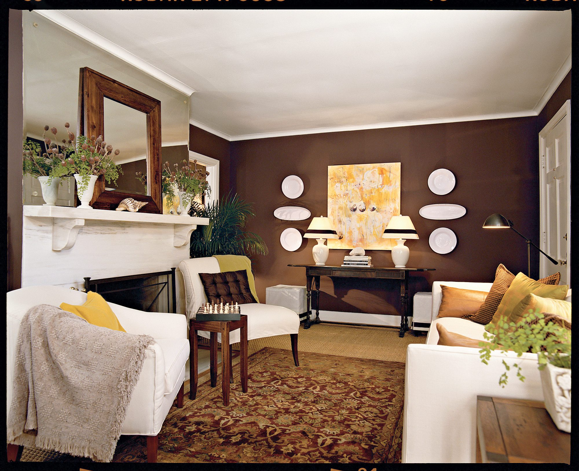 chocolate brown living room southern living. Black Bedroom Furniture Sets. Home Design Ideas
