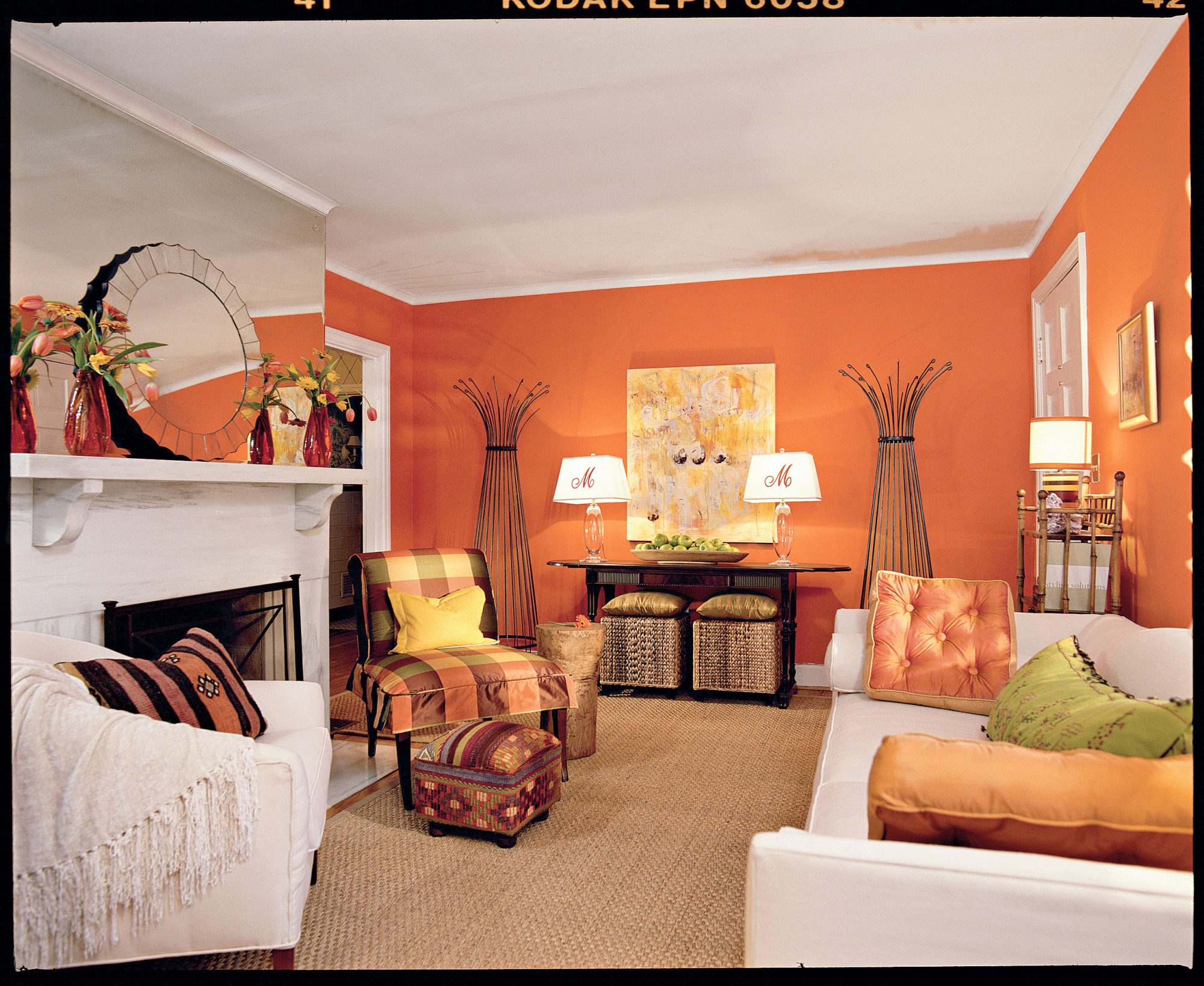 tangerine orange living room - southern living