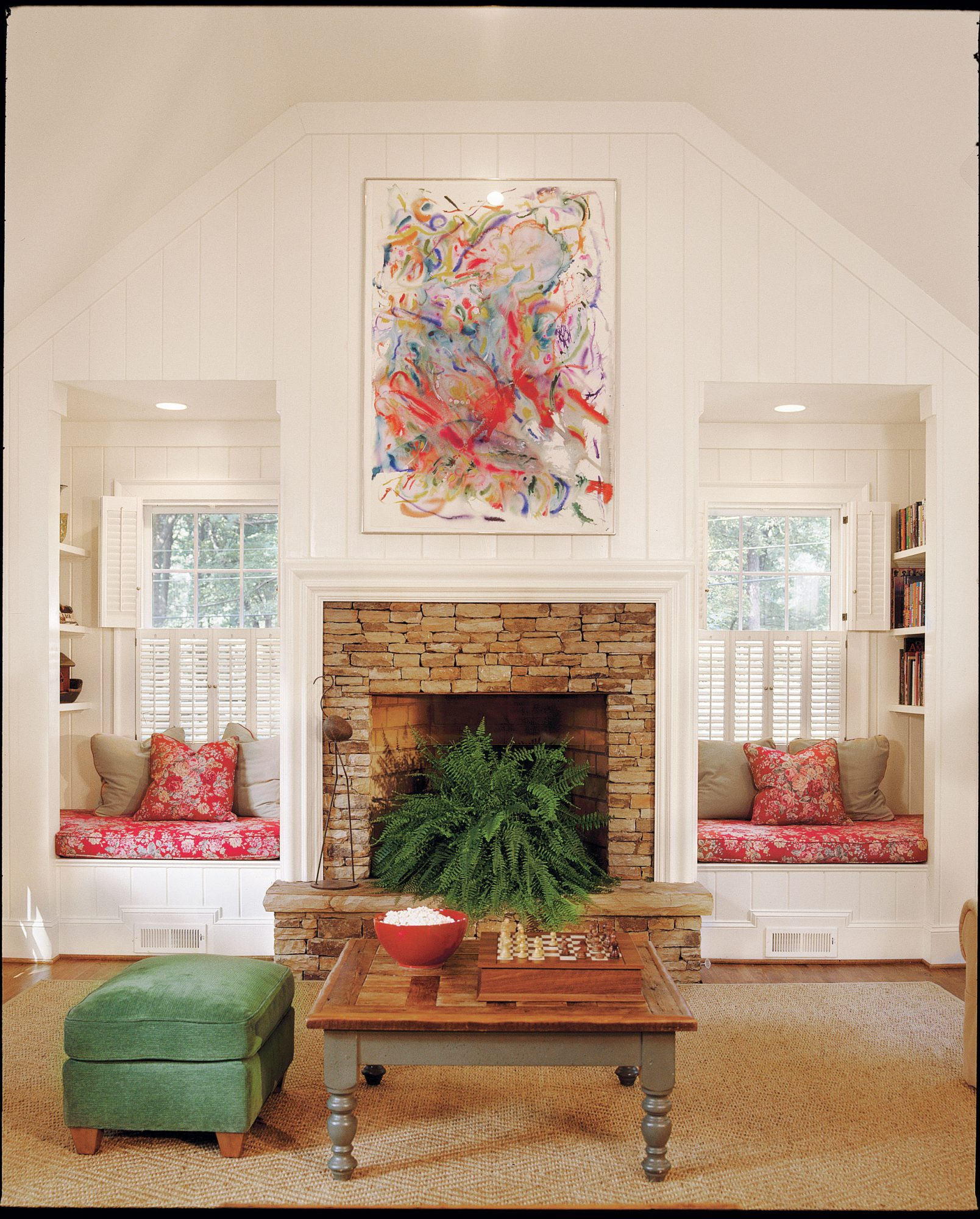 a built in solution for both sides of a fireplace southern living