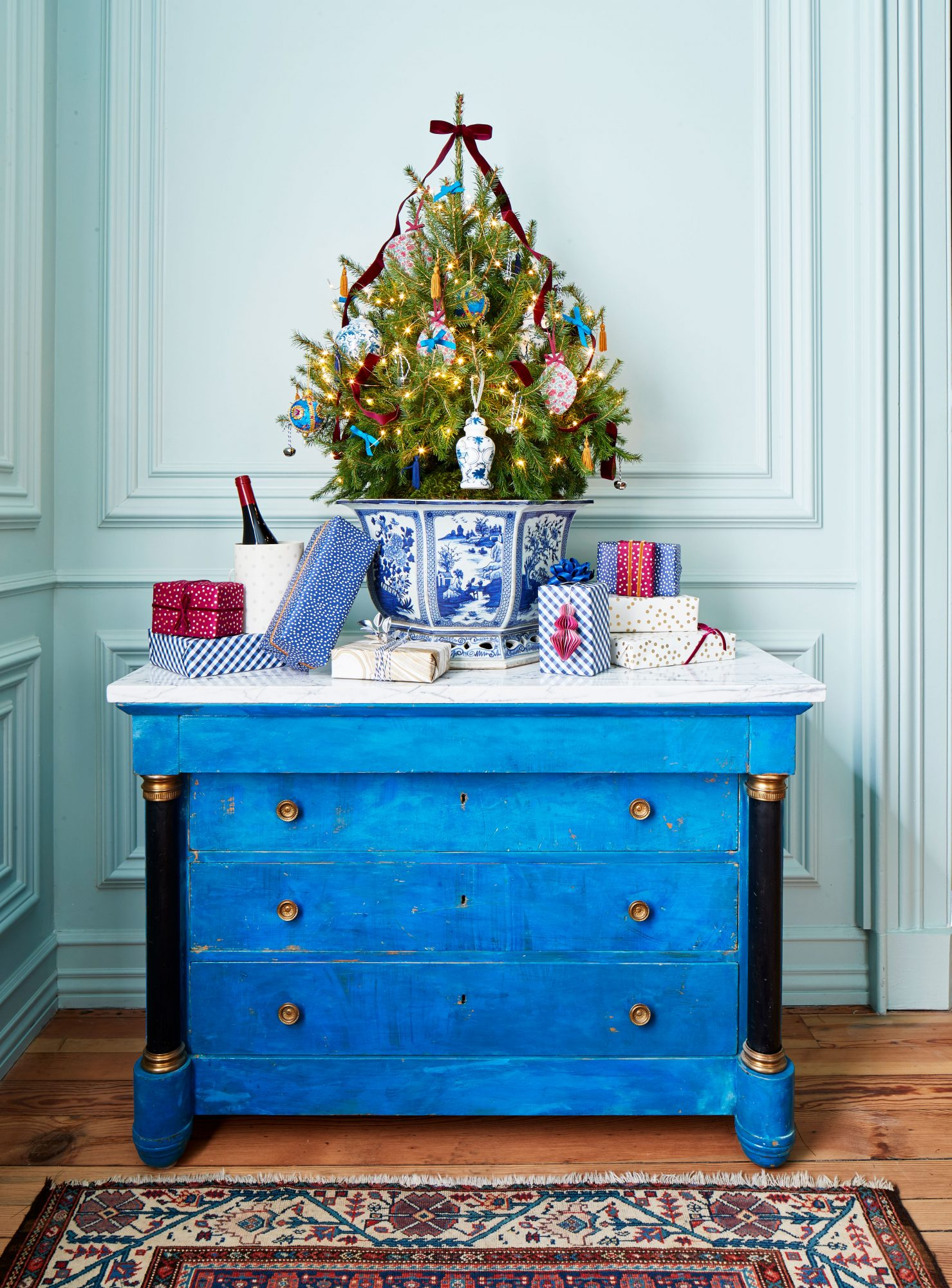 Blue Tabletop Christmas Tree
