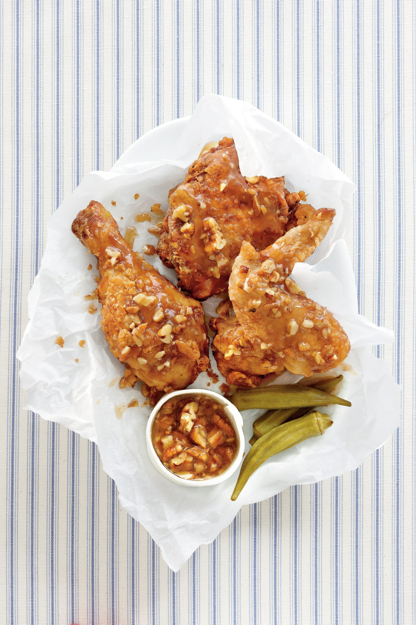 """Man Catching"" Fried Chicken with Honey-Pecan Glaze"
