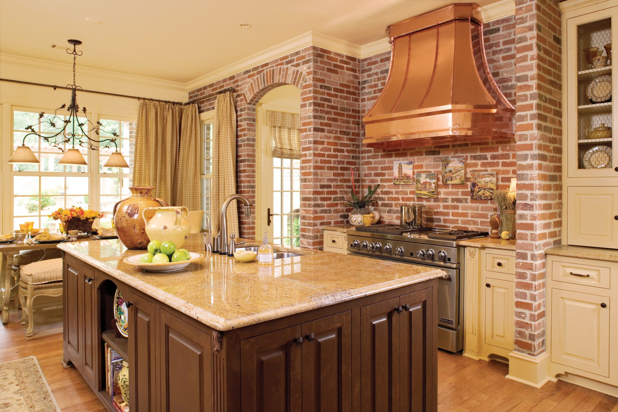 Brick and copper kitchen