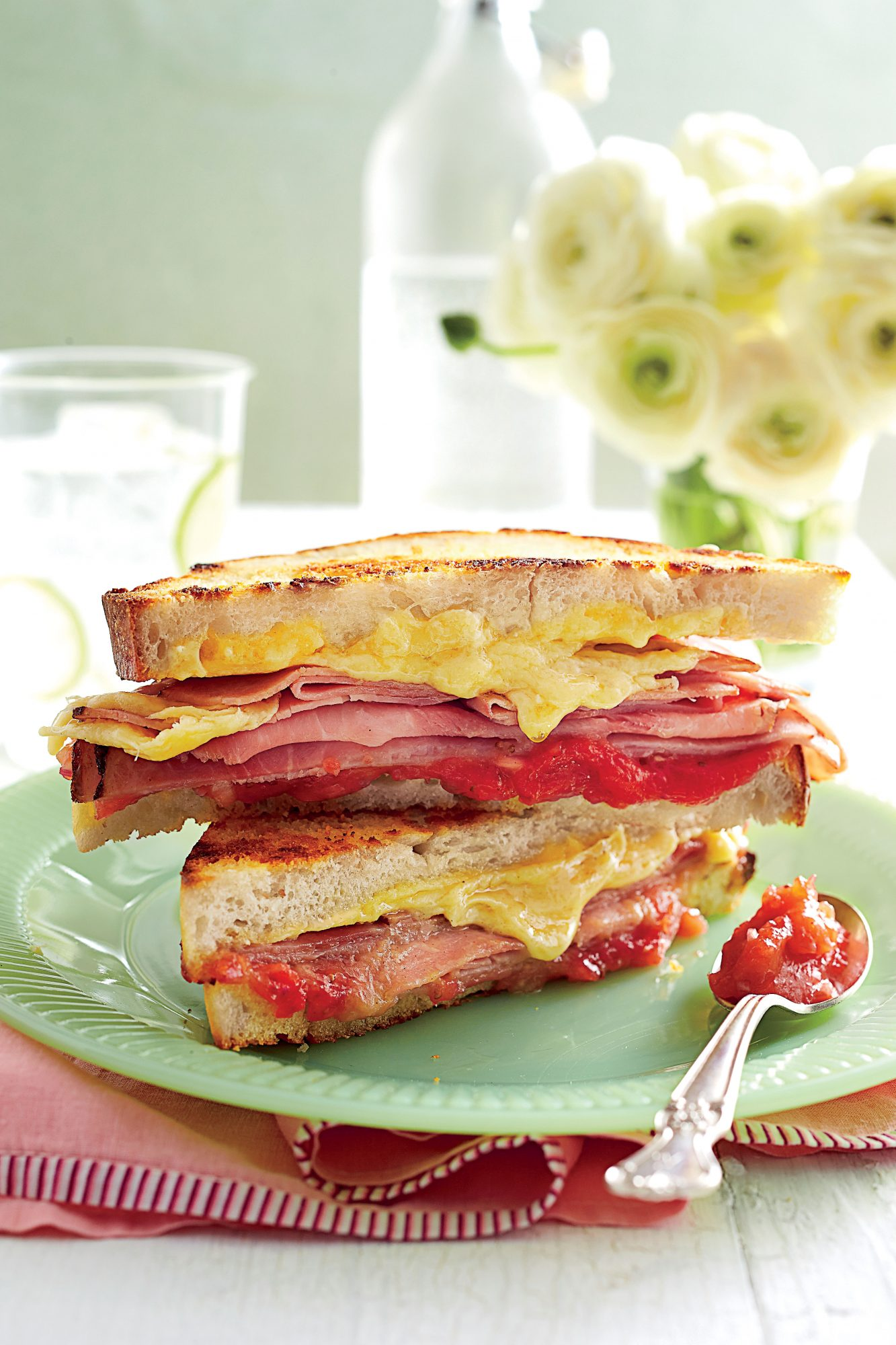 Grilled Ham-and-Cheese Sandwiches with Strawberry-Shallot Jam