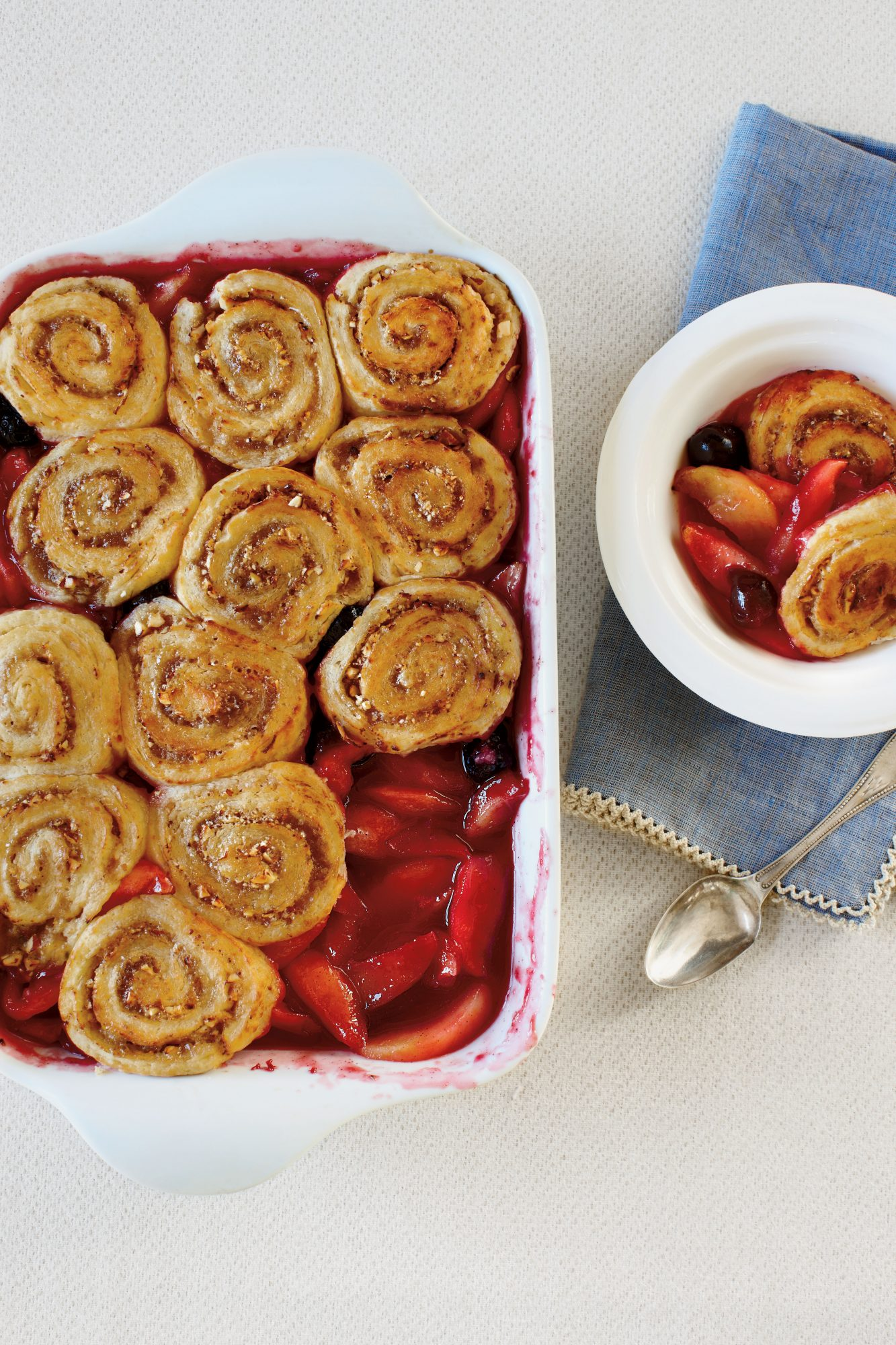 Cobbler Recipes: Apple-Cherry Cobbler with Pinwheel Biscuits