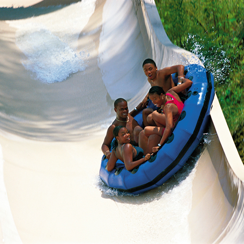 family on waterslide at splash country
