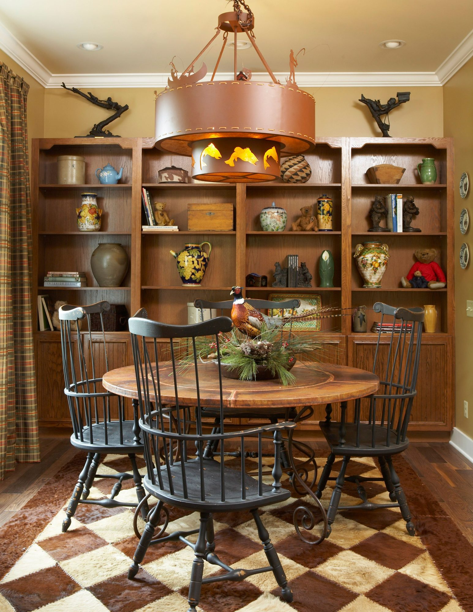 Dining Room With Library Shelves