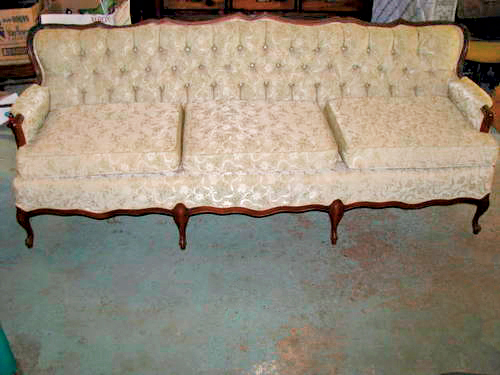 Wood-Framed Sofa Before