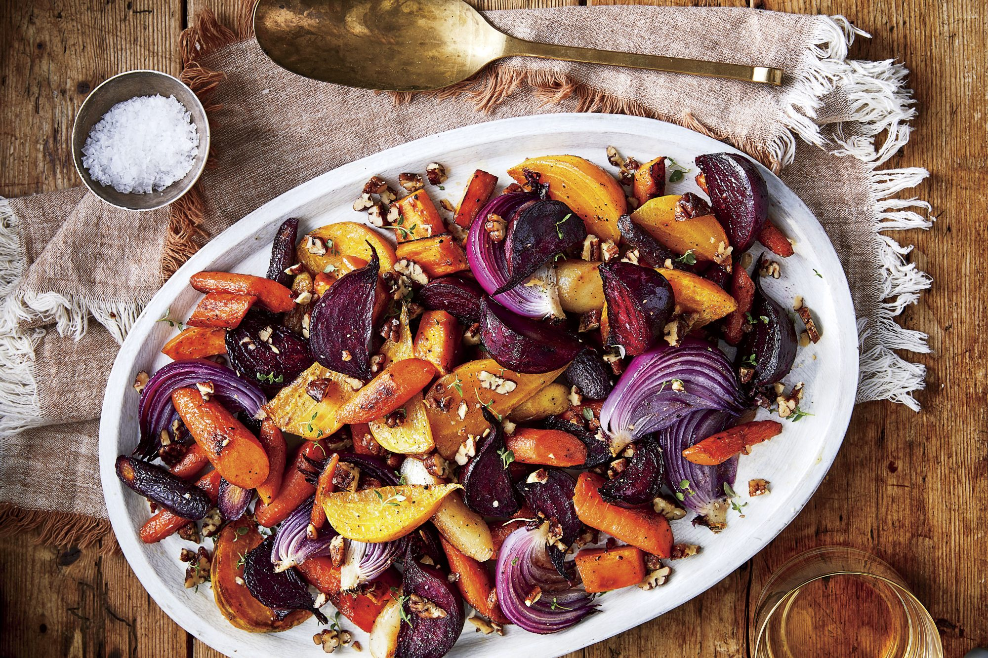 Oven-Roasted Root Vegetables with Spicy Pecan Topping