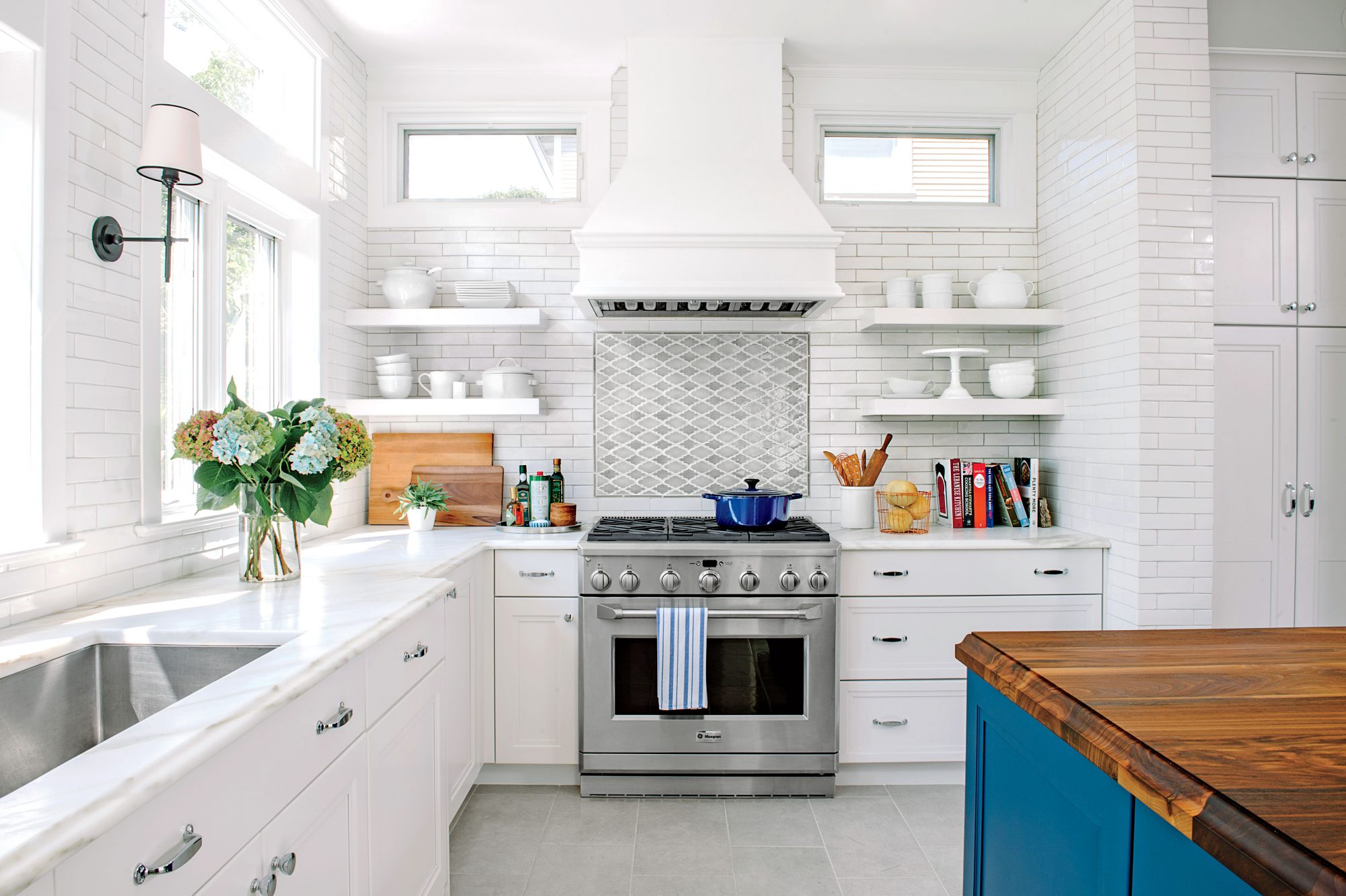 Wonderful Pictures Of Kitchen Makeovers Part - 10: White And Blue Kitchen Makeover