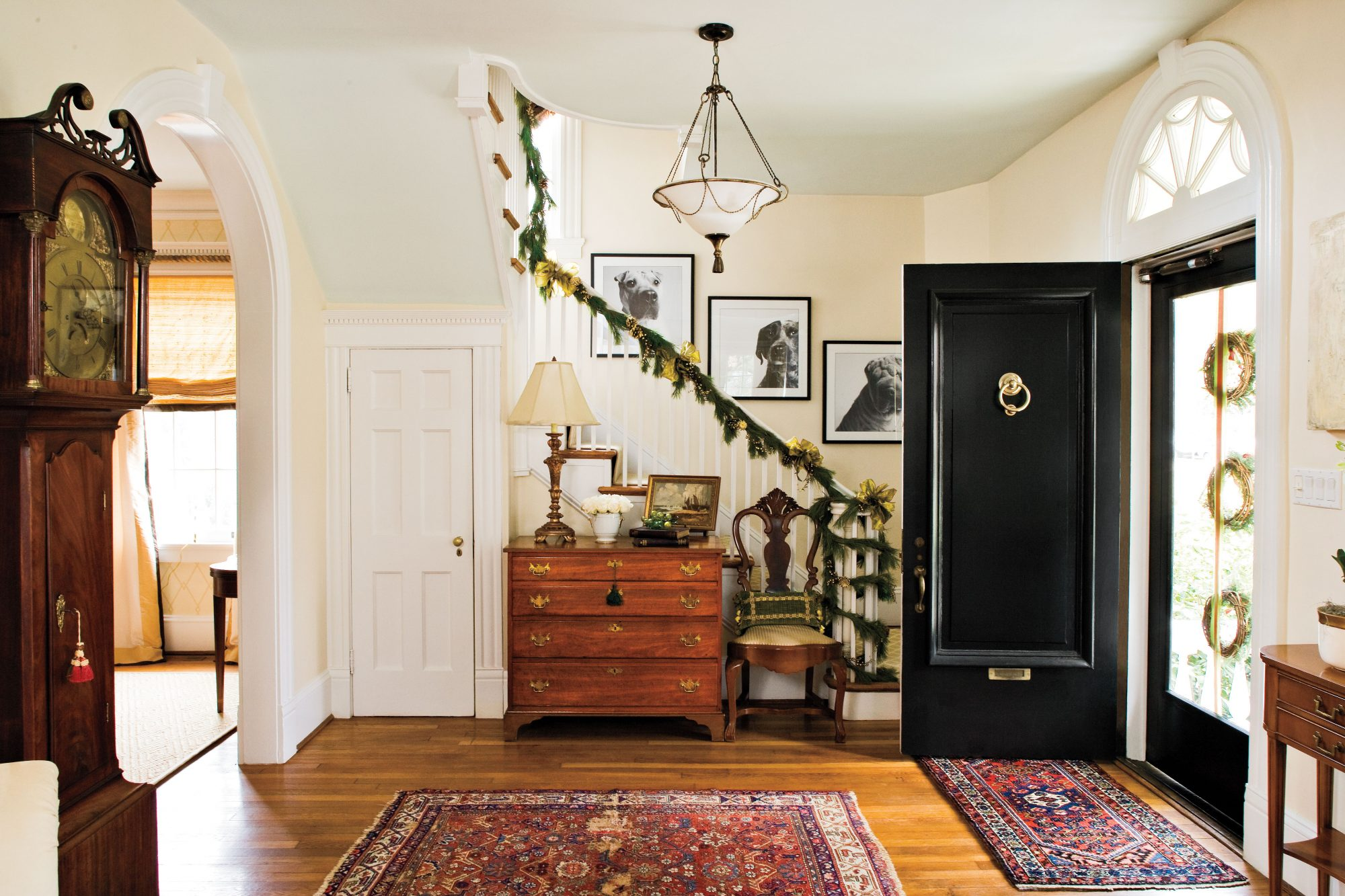how to hang garland around front door100 Fresh Christmas Decorating Ideas  Southern Living