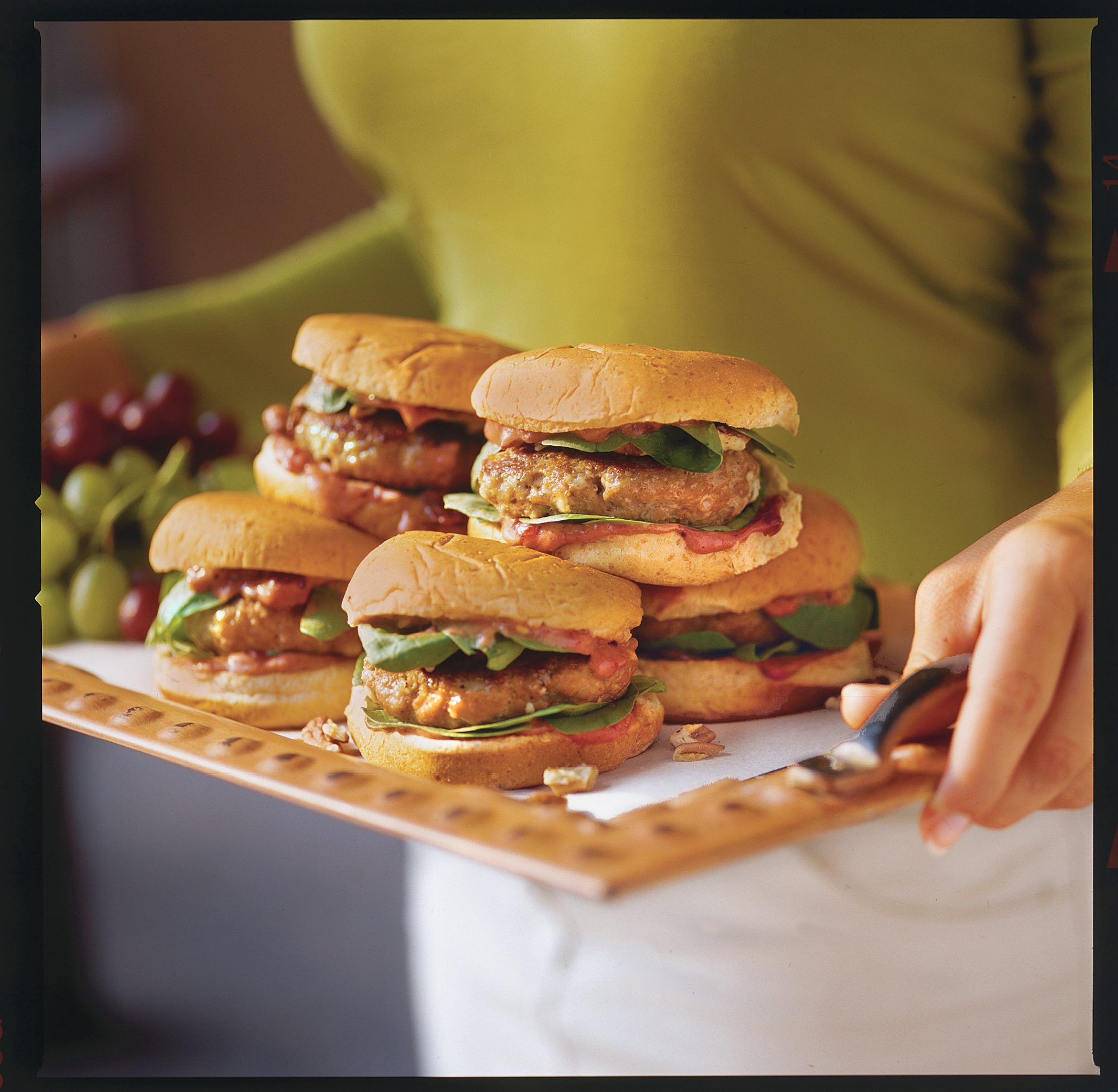 Grilled Burgers and Sanwiches Recipes: Toasted Pecan, Cranberry, and Gorgonzola Turkey Burgers