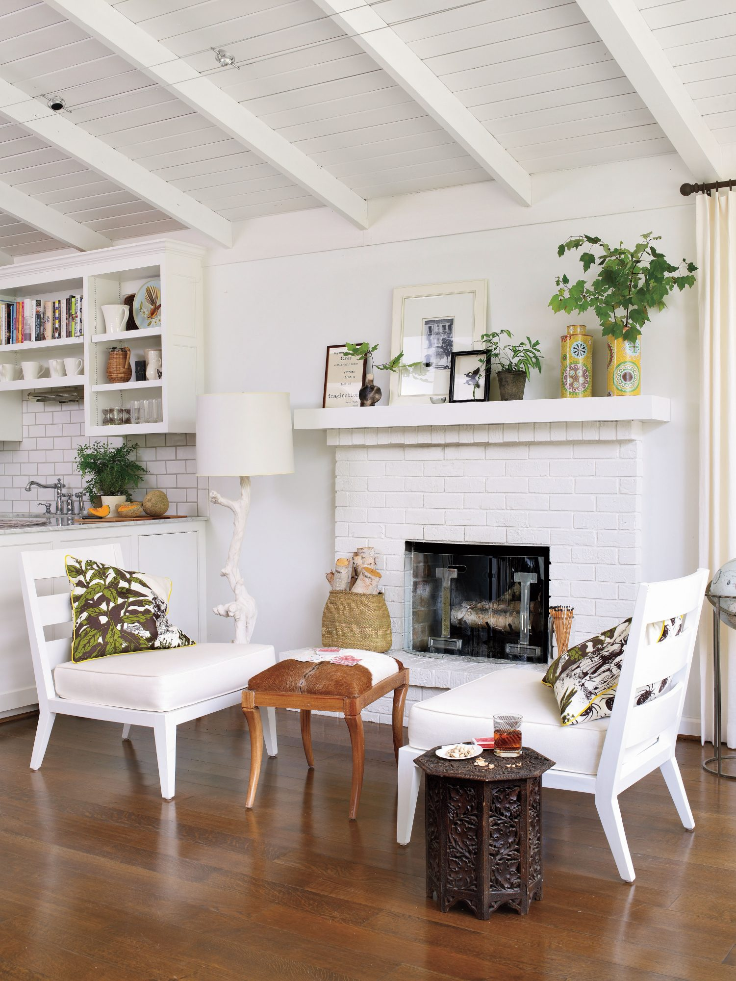 White Painted Home Decor: Mantel Area: After