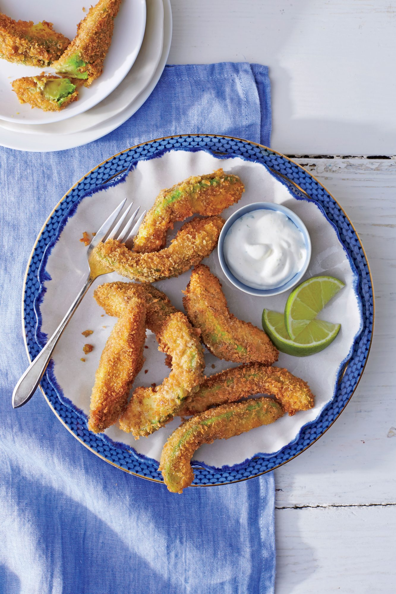 Avocado Fritters with Lime Cream
