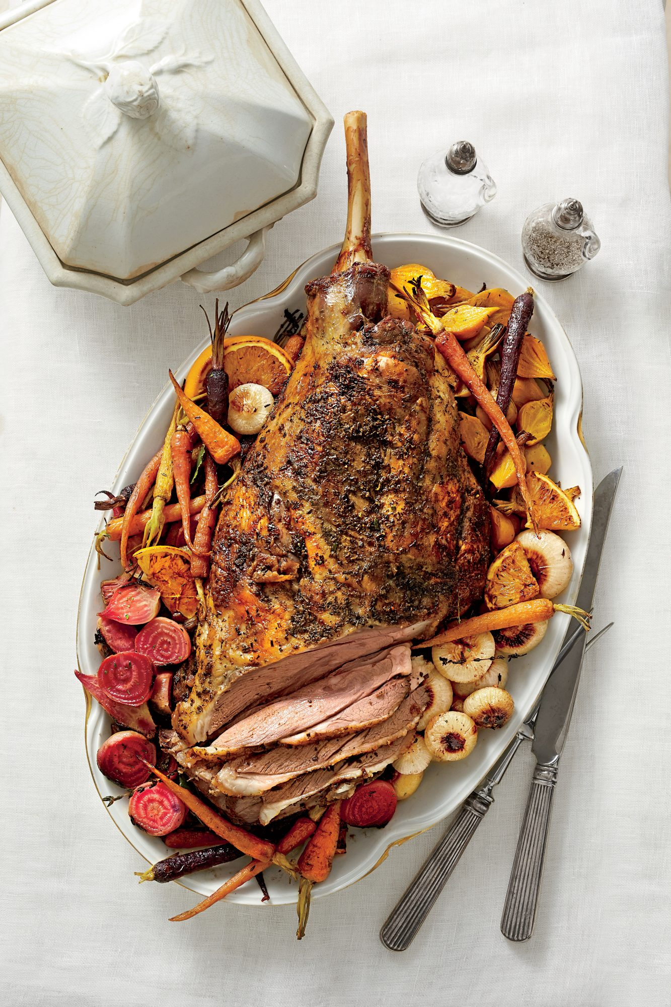 Roasted Leg of Lamb with Lemon-Herb Salt