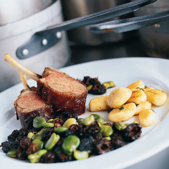 Lamb Chops with Fava Beans and Potato Gnocchi