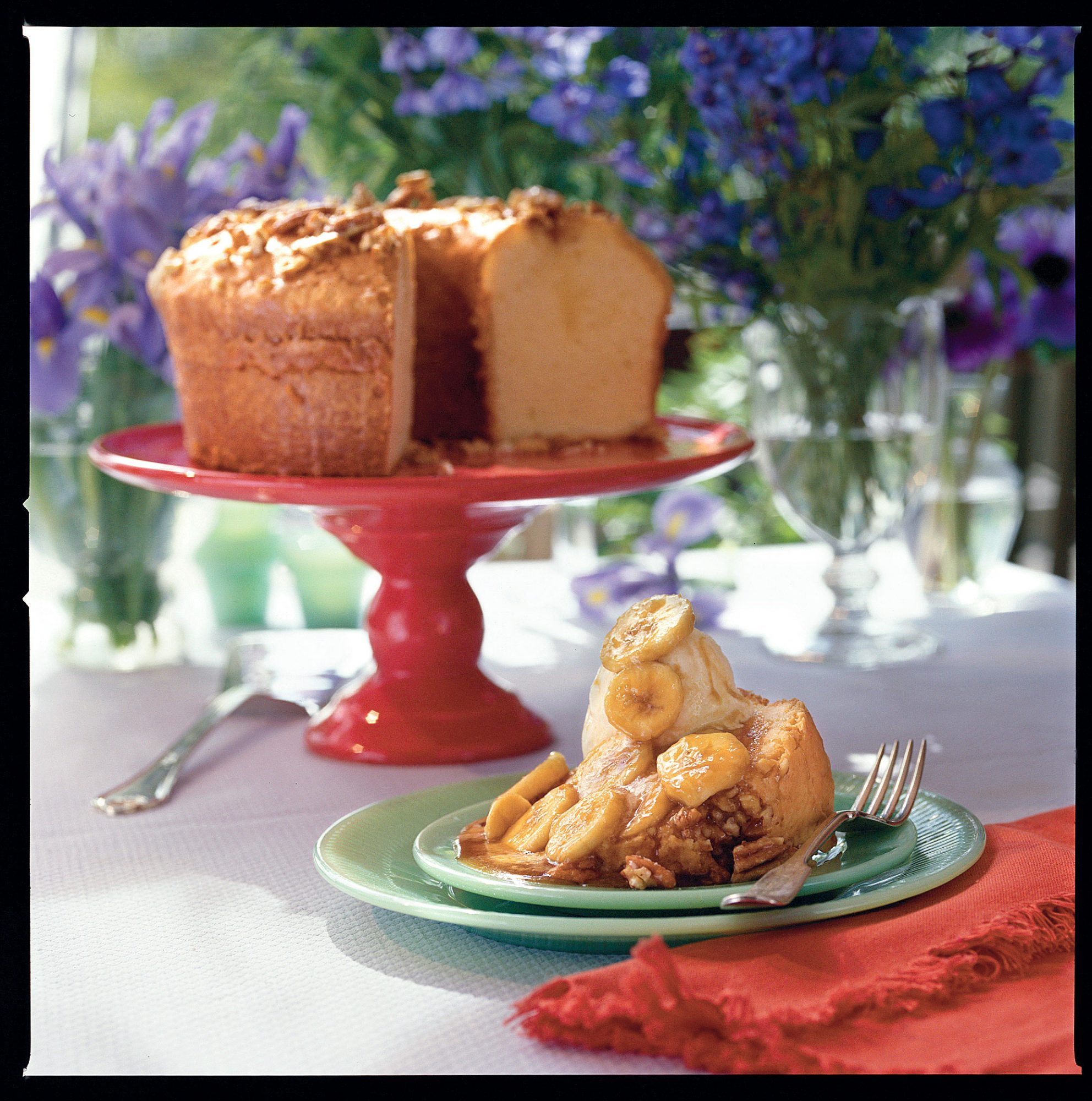 Buttered Rum Pound Cake with Bananas Foster Sauce