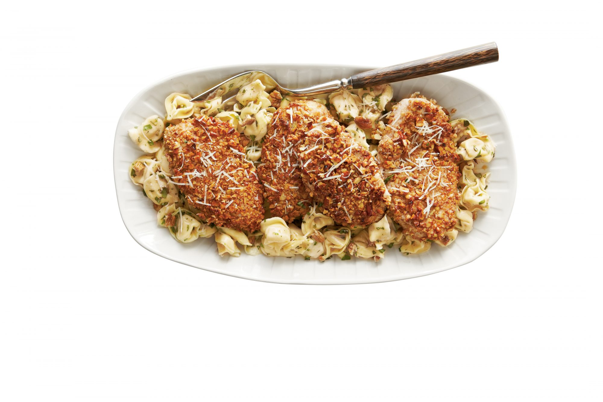 Pecan-Crusted Chicken and Tortellini with Herbed Butter Sauce