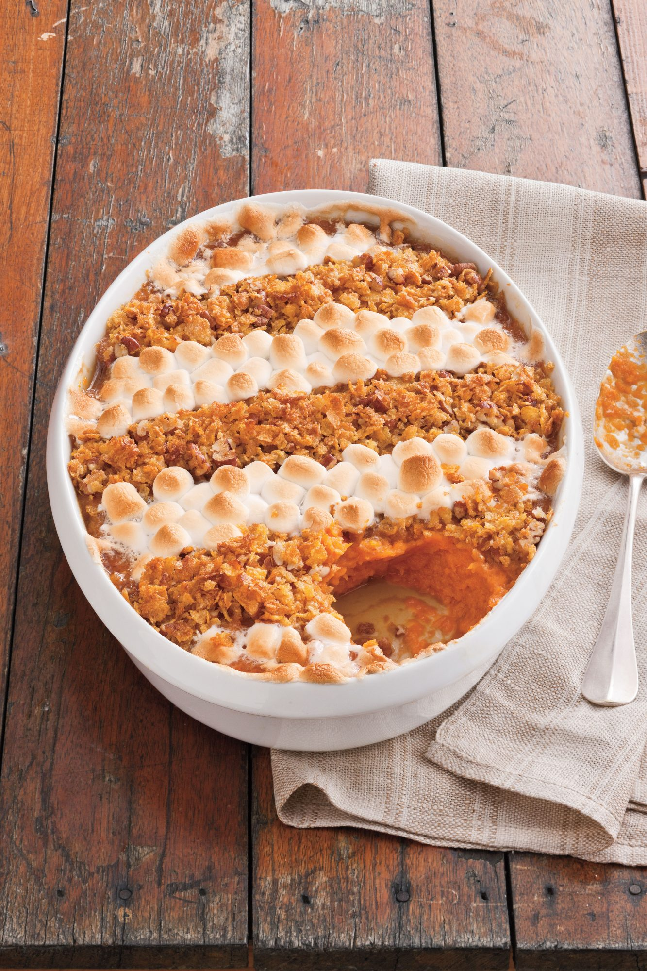Cornflake, Pecan, and Marshmallow-Topped Sweet Potato Casserole
