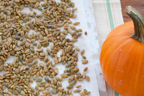 Shelled pumpkin seeds; Photo by Jim Franco