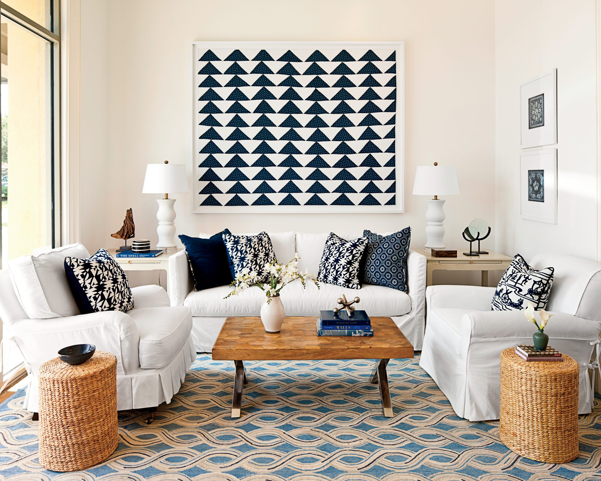 How to decorate above the sofa southern living - Over the couch decor ...