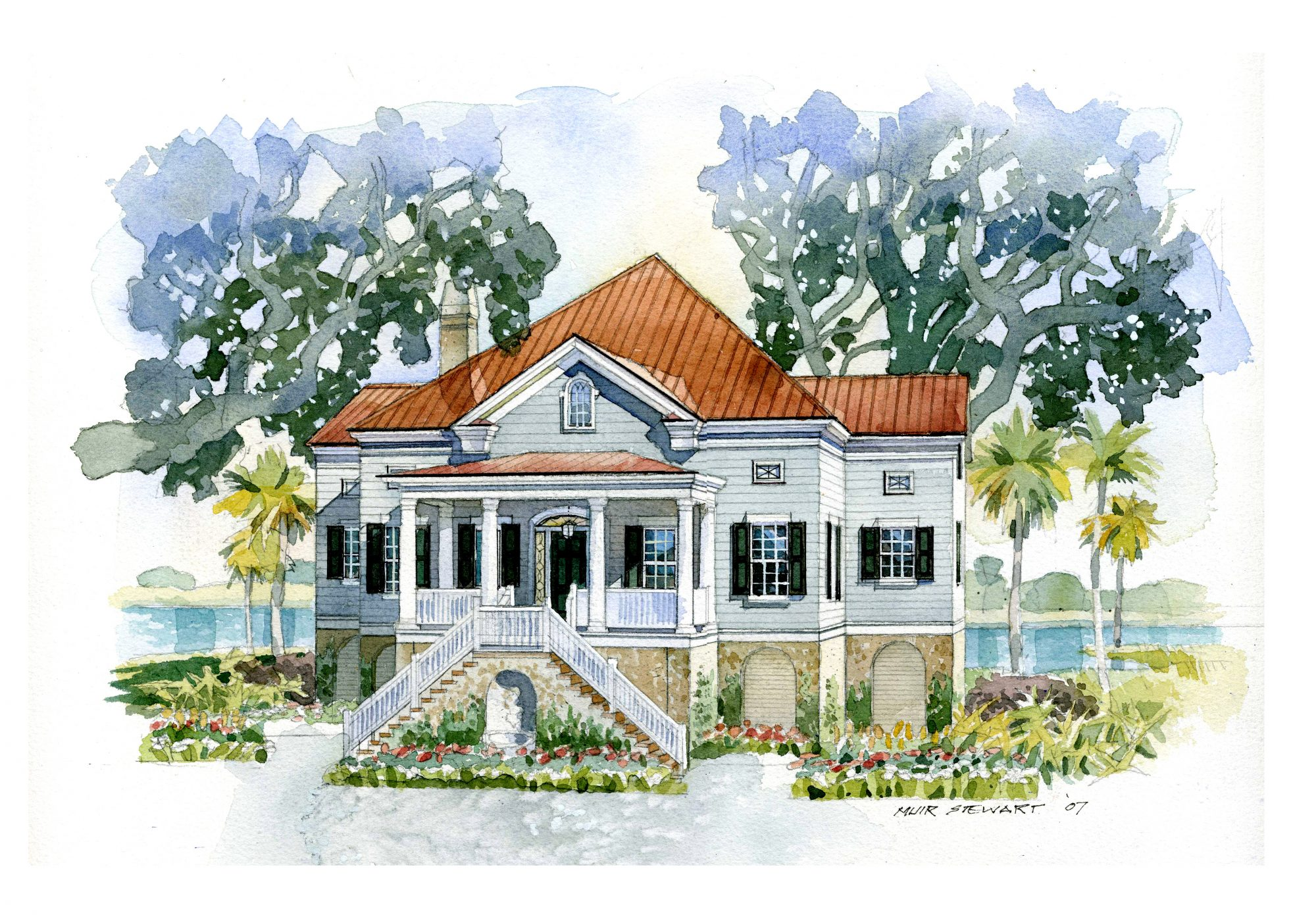 House plan of the month lowcountry cottage southern living for Watercolor house plans