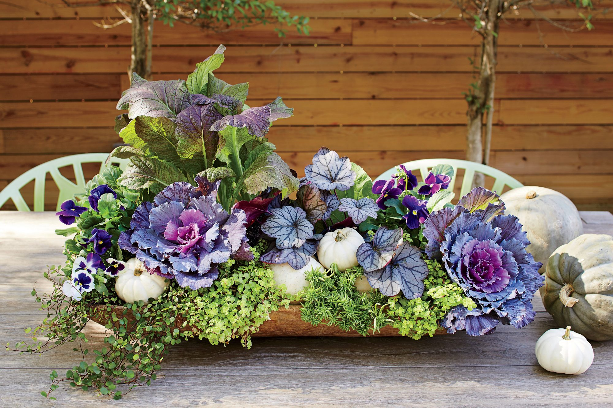 Purple Pansies and Cabbage Dough Bowl Container