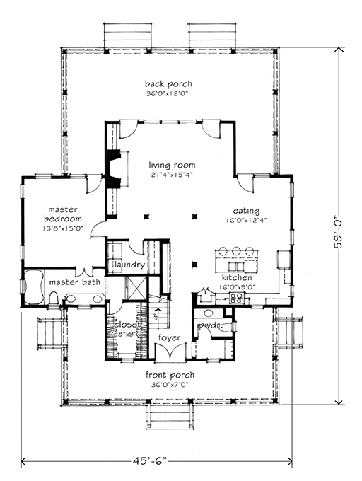House plan of the month four gables southern living for Four gables house plan