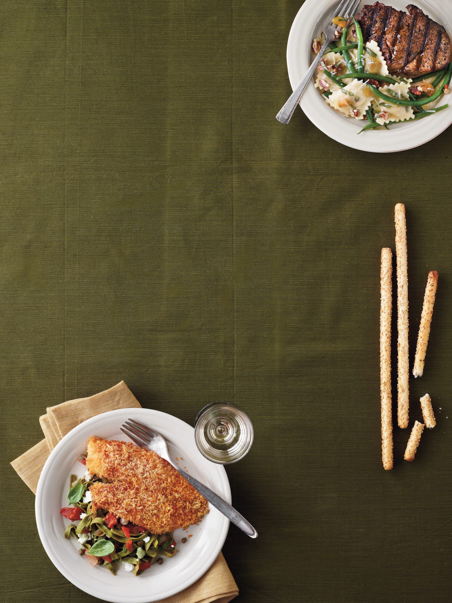 Grilled Fillets with Pecans and Green Bean Ravioli