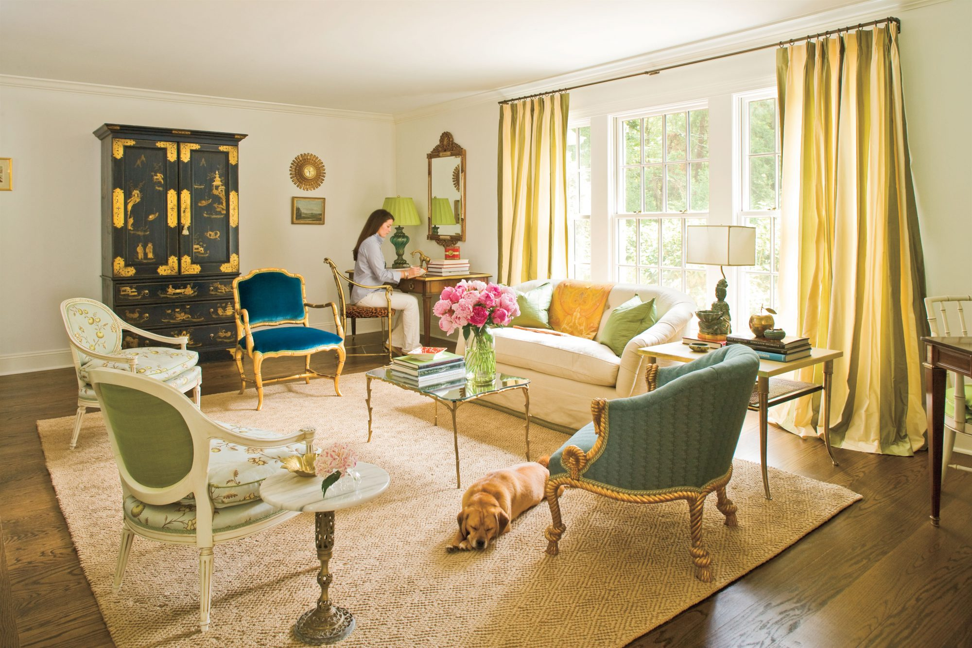 Cute overload adorable pups in pretty rooms southern living for Southern living keeping room ideas