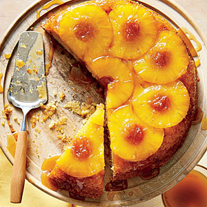 Honey-Pineapple Upside-Down Cake; Photo: Hector Sanchez; Styling: Heather Chadduck Hillegas