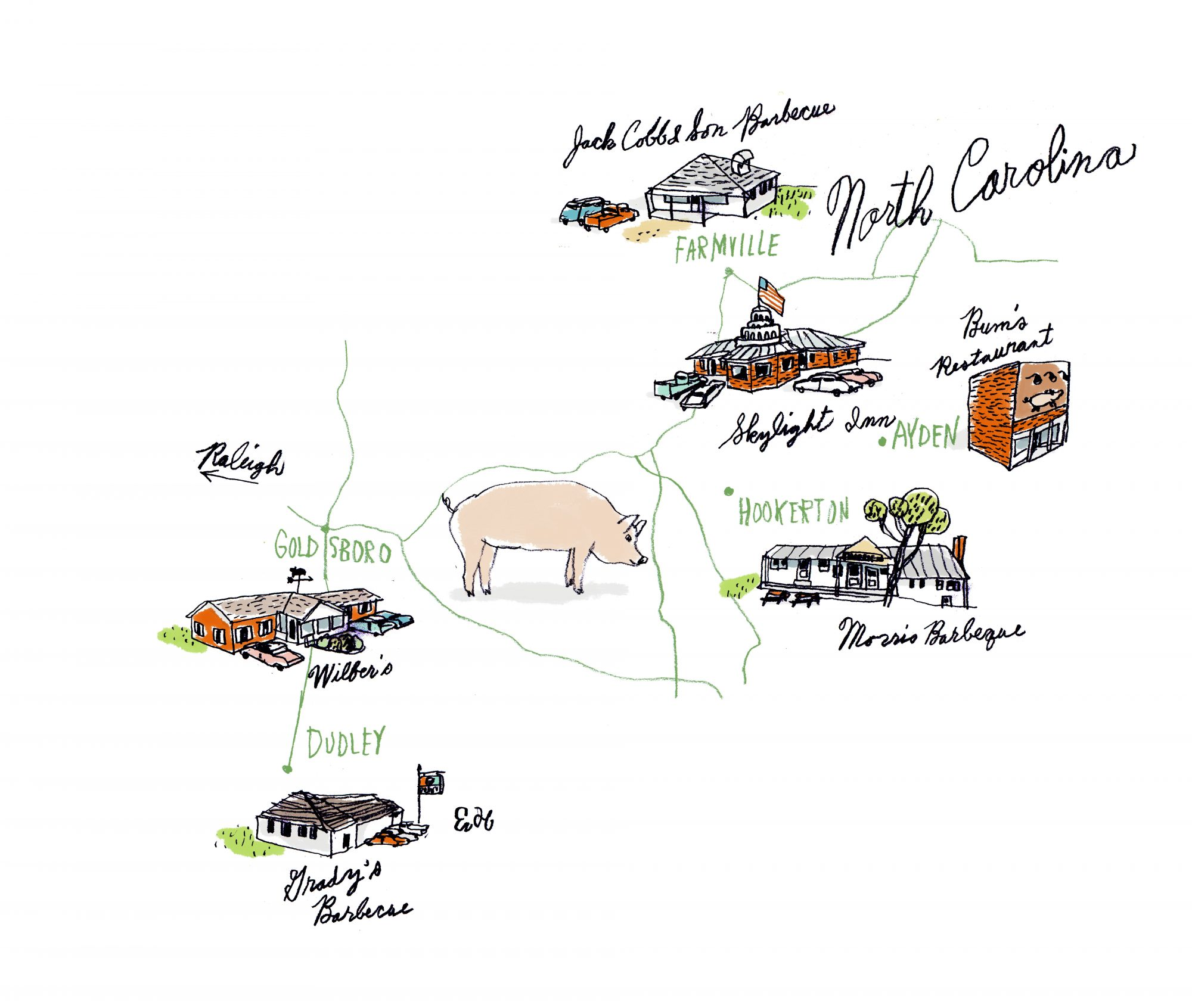 North Carolina BBQ Map