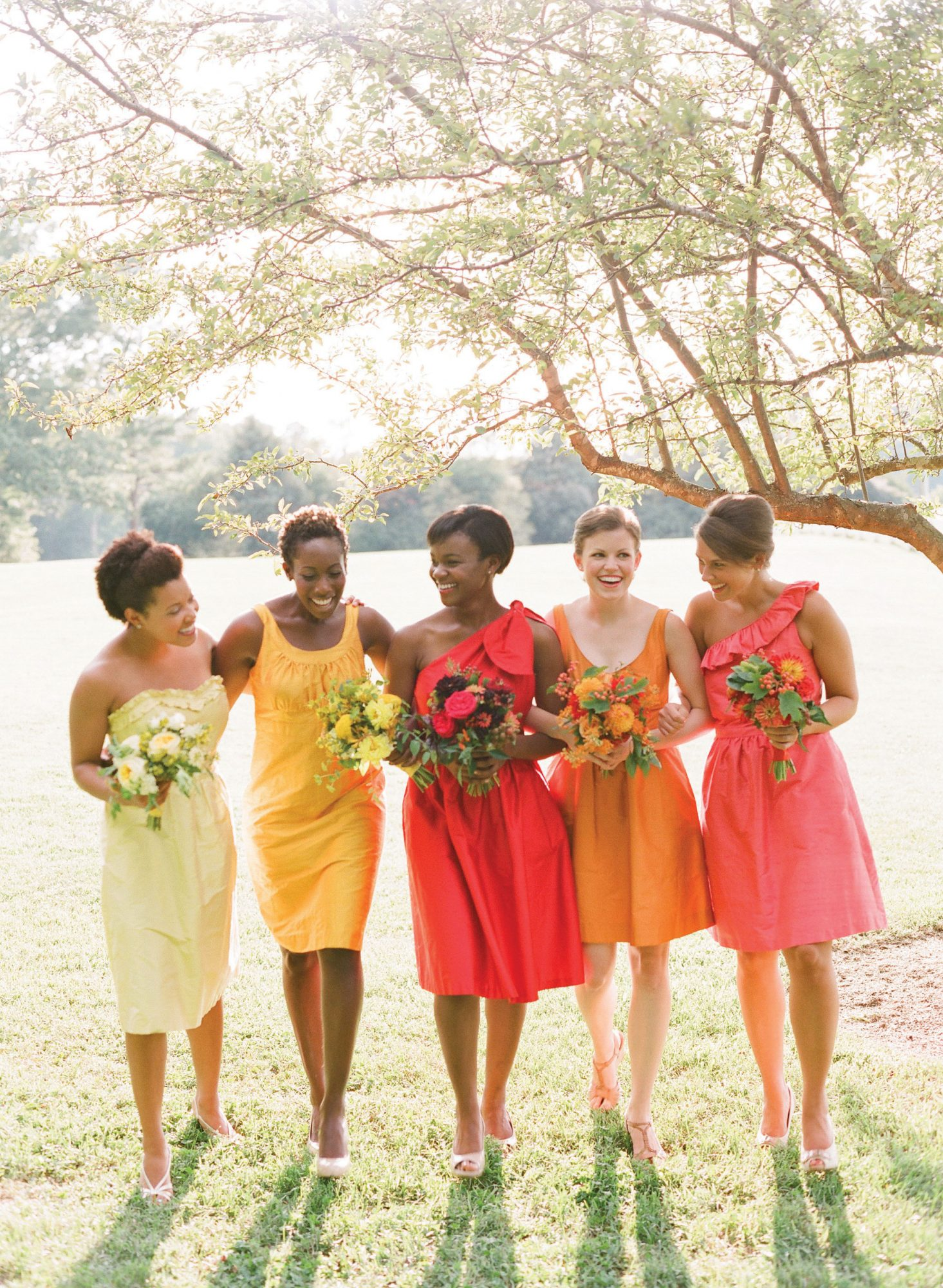 Bridesmaids' Dresses in Various Shades and Styles
