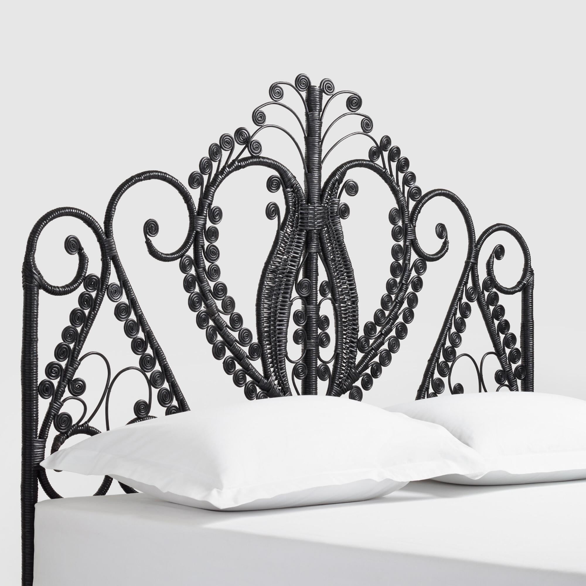 Black Wicker Headboard