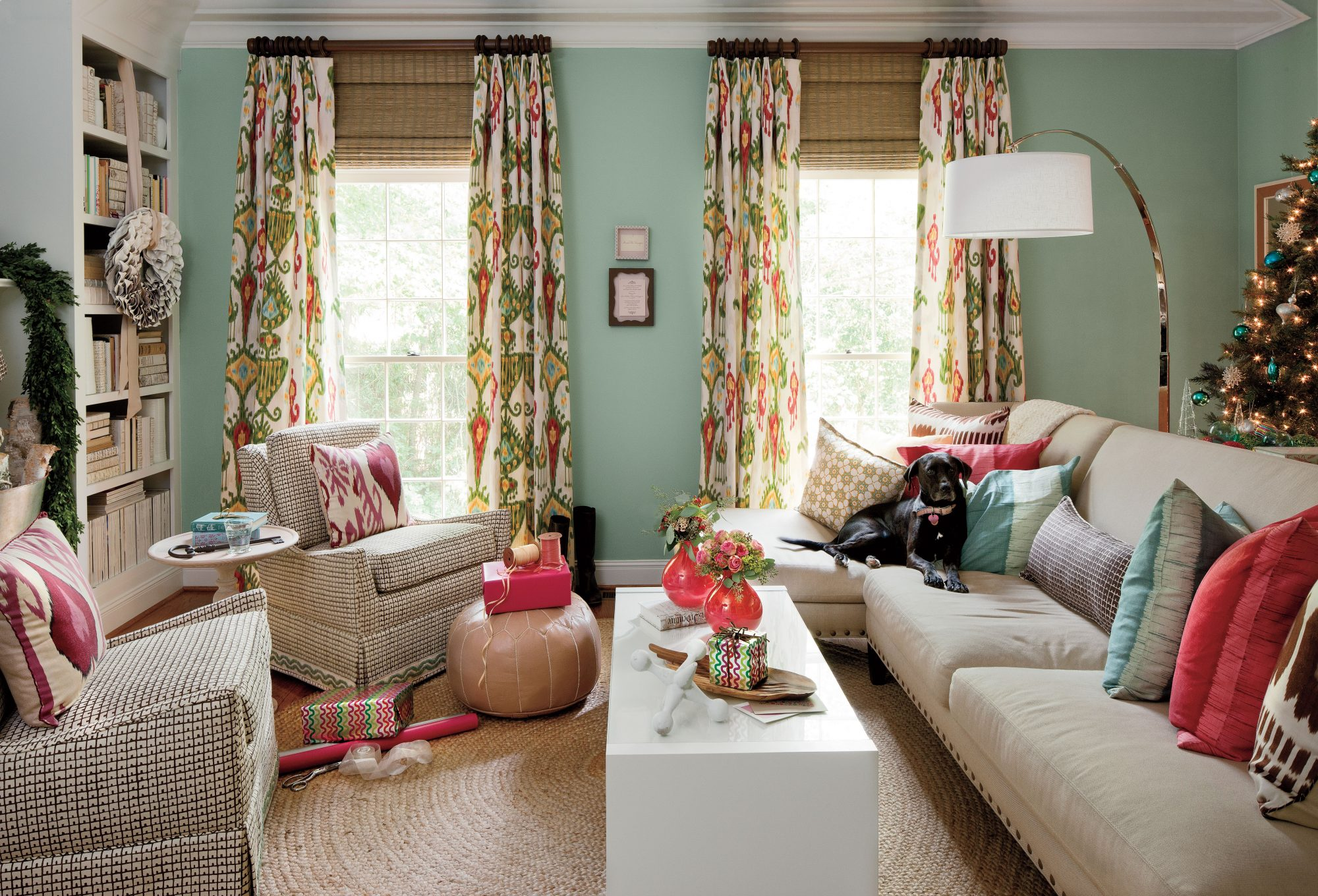 Pink and Green Holiday Living Room