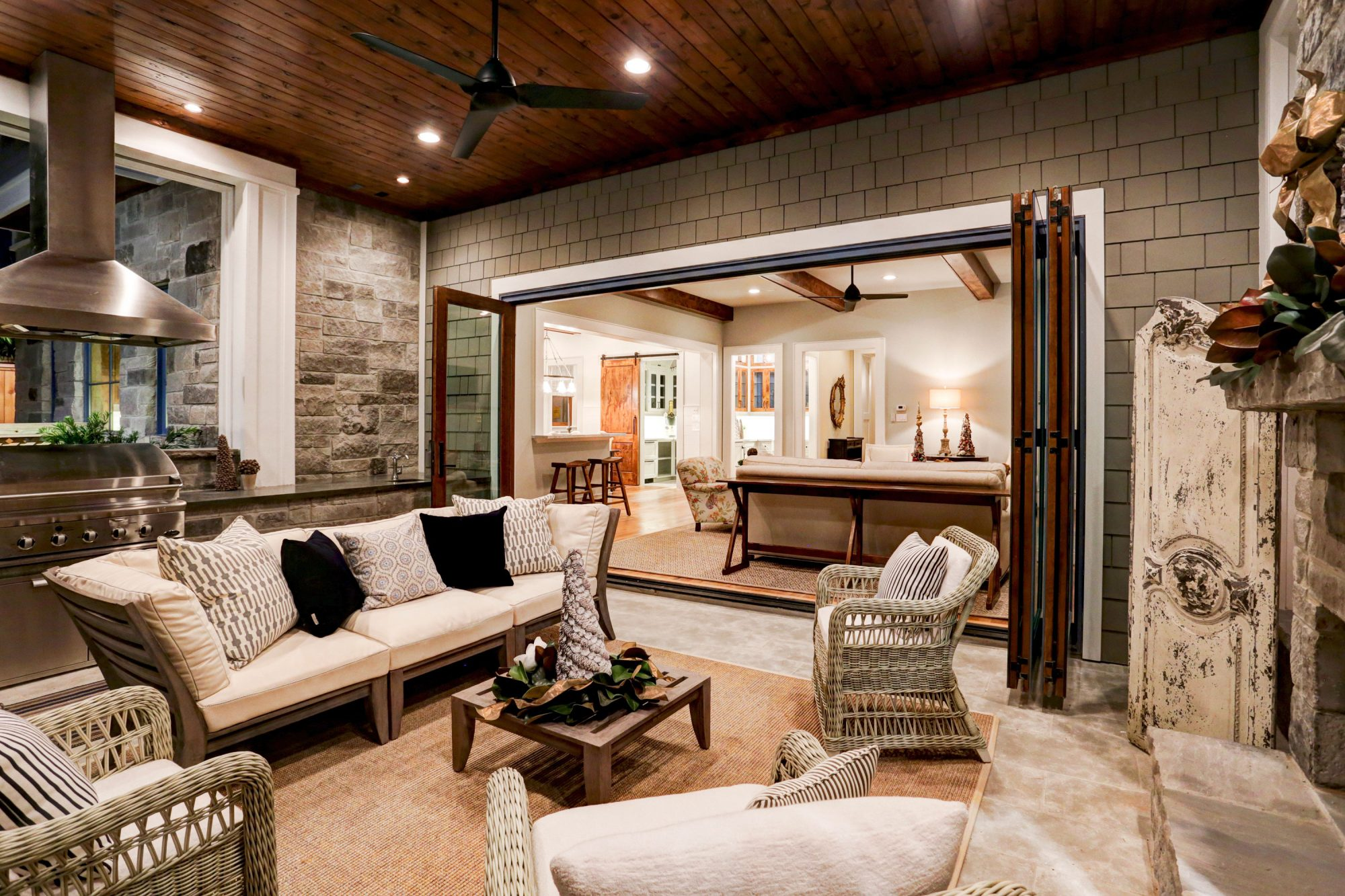 Stone Acorn Living Room and Porch