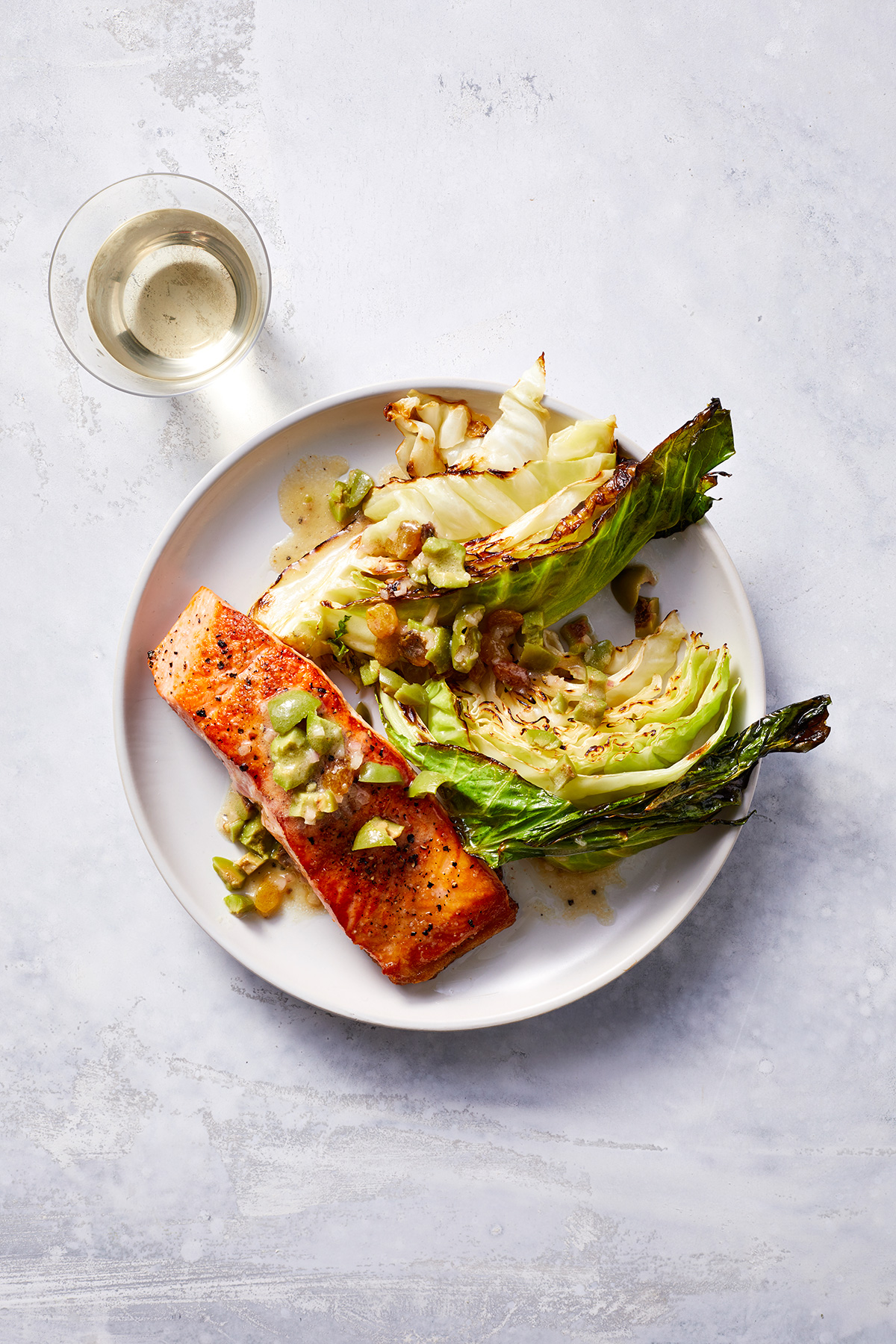 One-Pan Salmon With Roasted Cabbage and Olive Vinaigrette