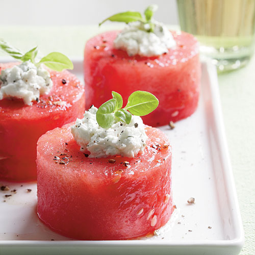 Herbed Goat Cheese-Melon Party Bites