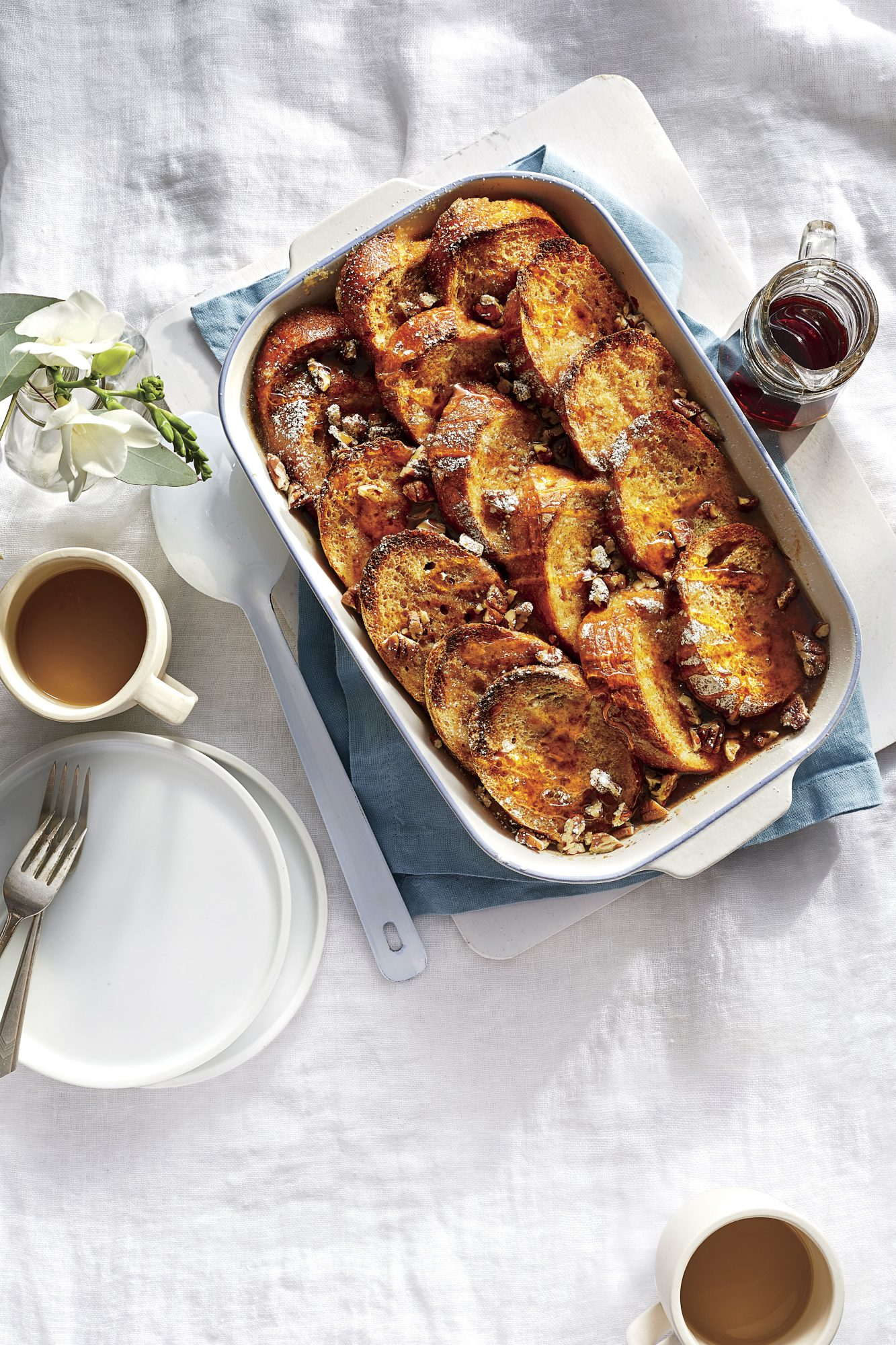 Overnight French Toast Casserole with Bourbon-Maple Syrup