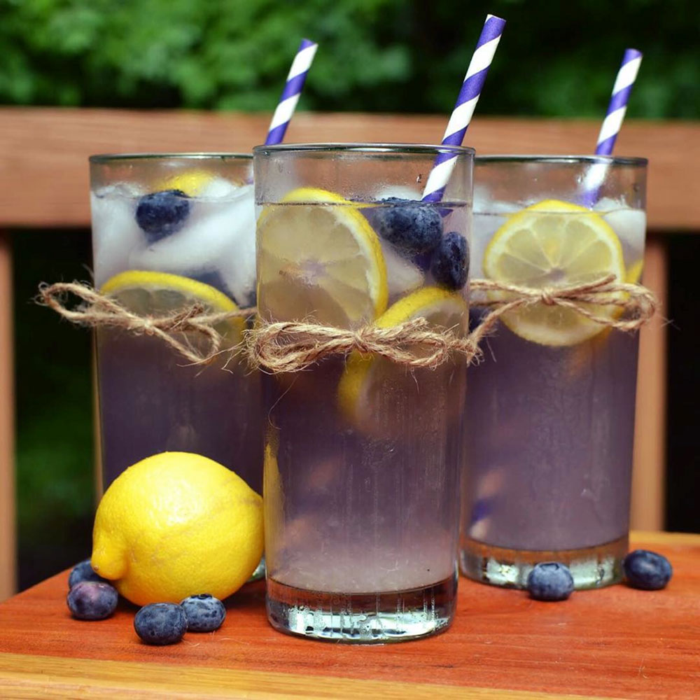 Blueberry Lemonade with a Striped Straw