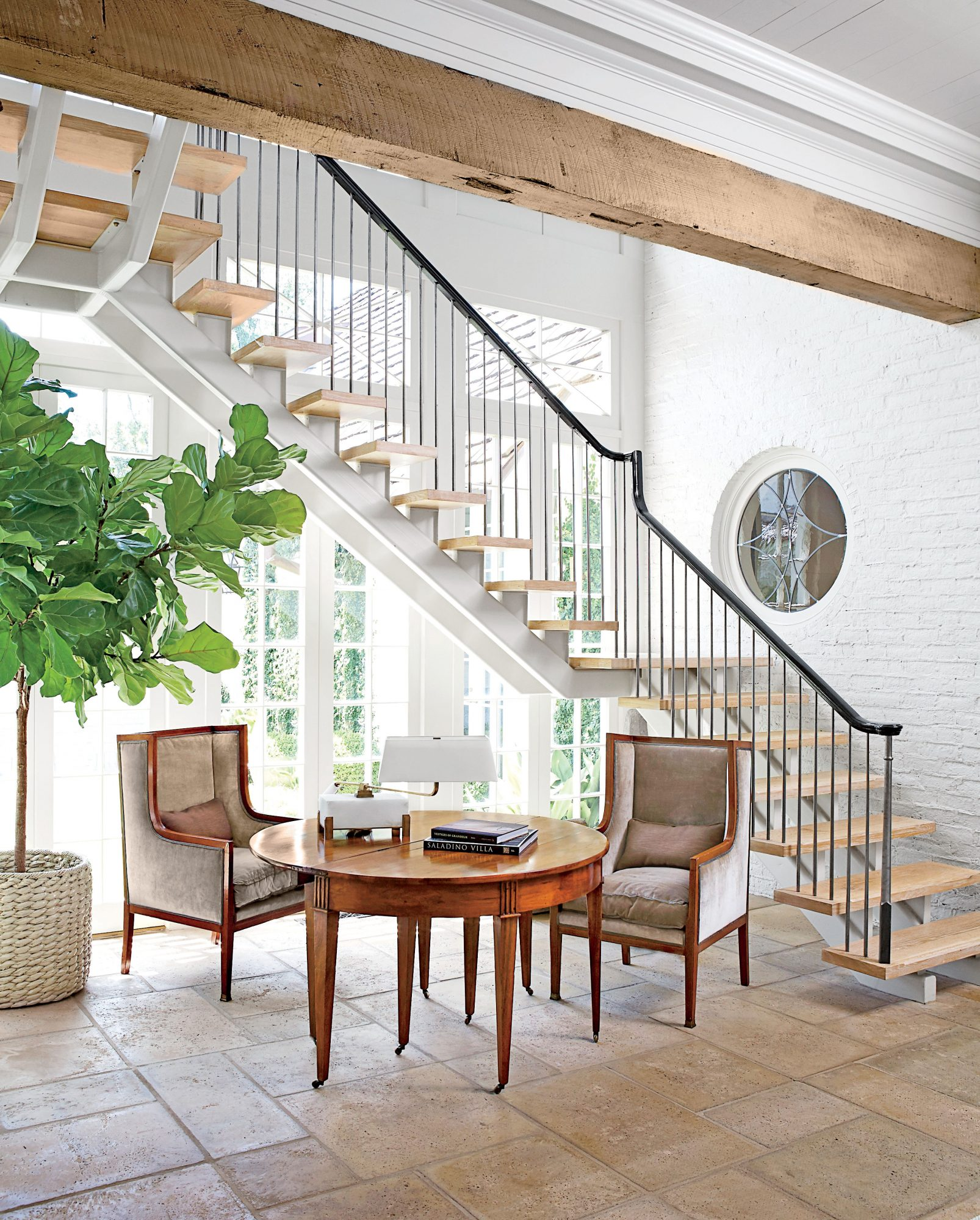 Iron-and-Wood Staircase in Foyer