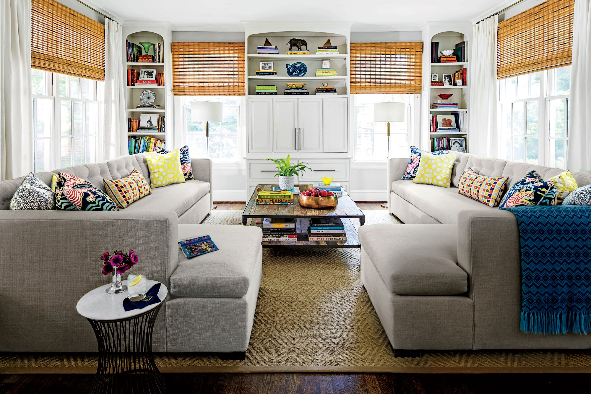 Family Room with Gray Sectional Couch