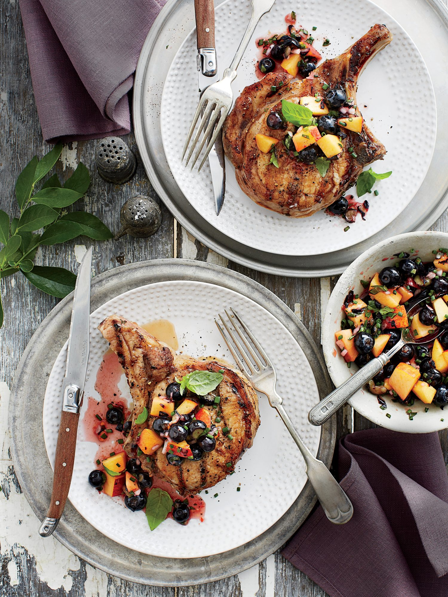 Pork Chops with Blueberry peach Salsa