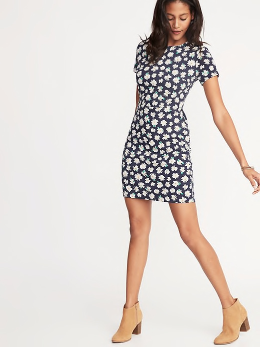 Printed Ponte-Knit Sheath Dress for Women in Navy Daisy Print