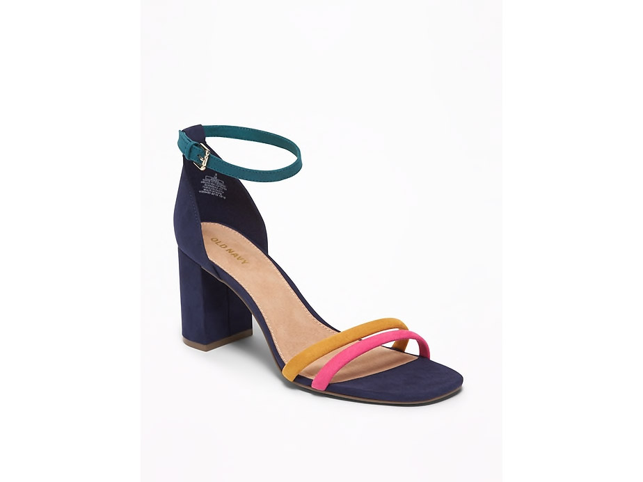Old Navy Multi Stripe Strappy Block-Heel Sandals