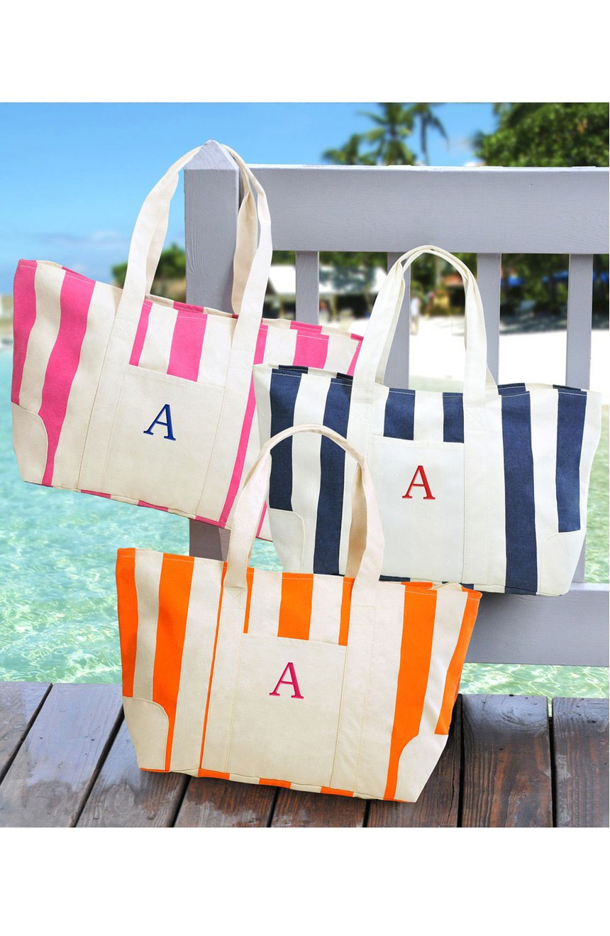 Personalized Stripe Canvas Tote