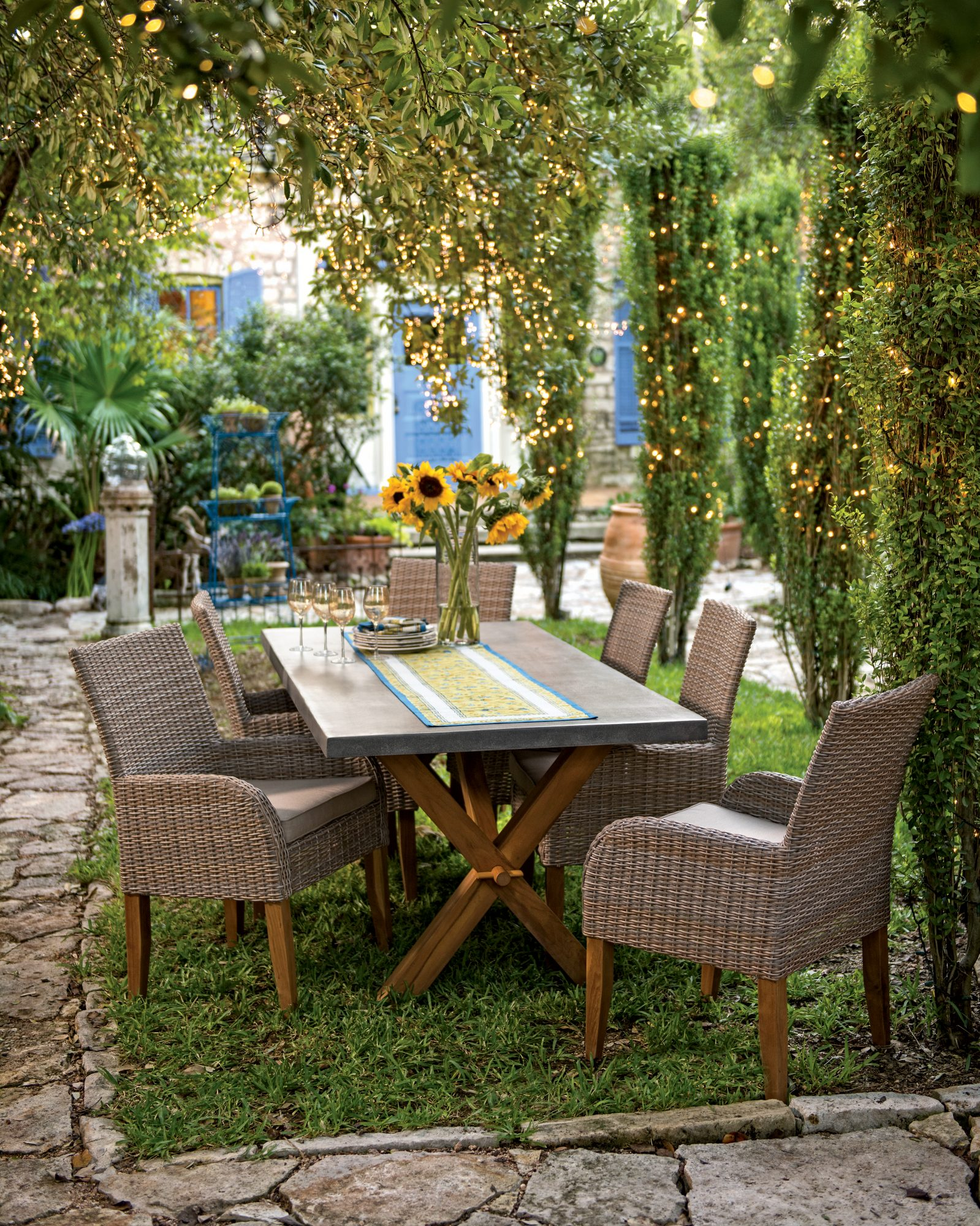 Outdoor Room Dining Table Twinkle Lights
