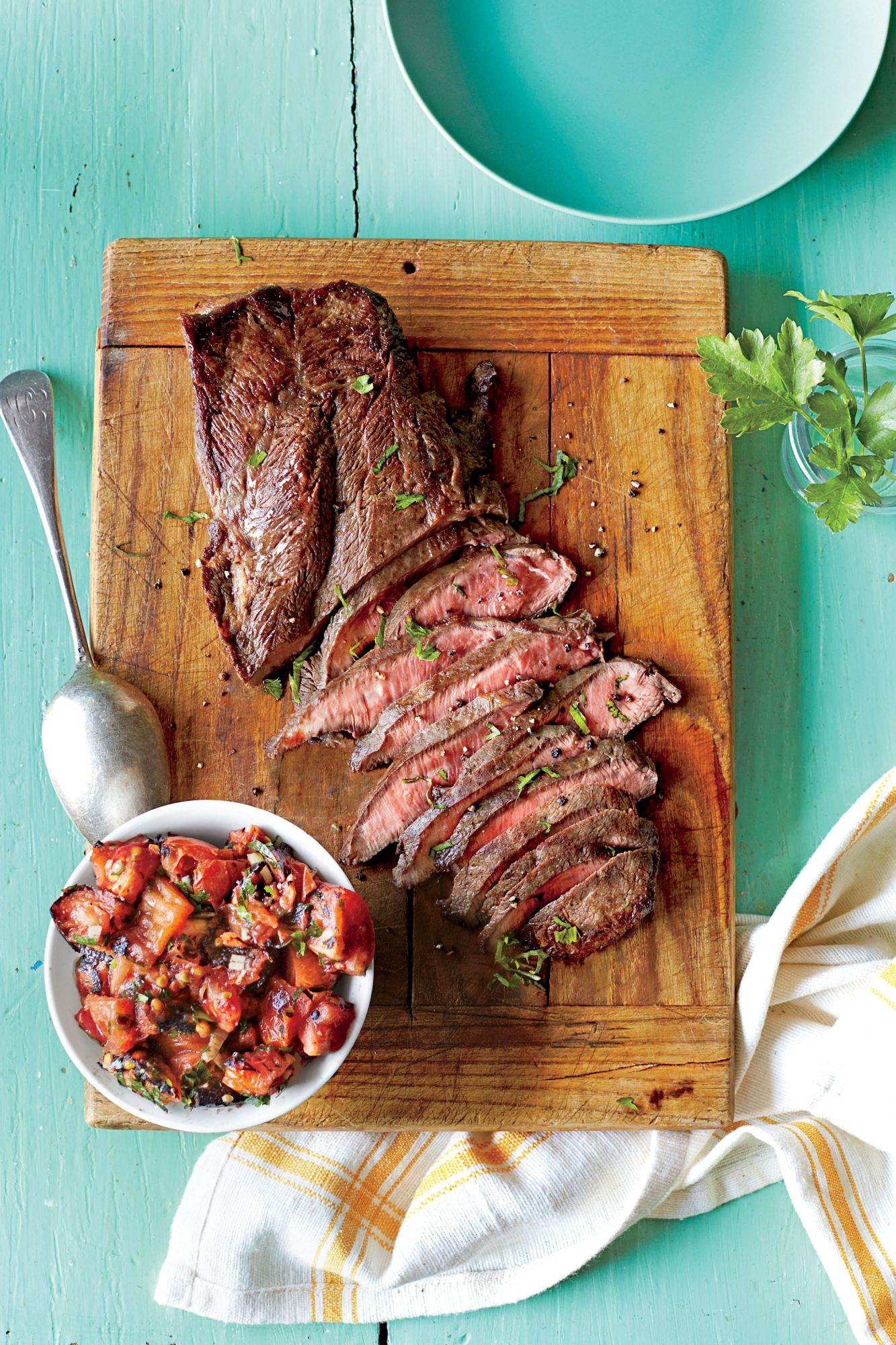 Grilled Flat Iron Steak with Charred Tomato Relish
