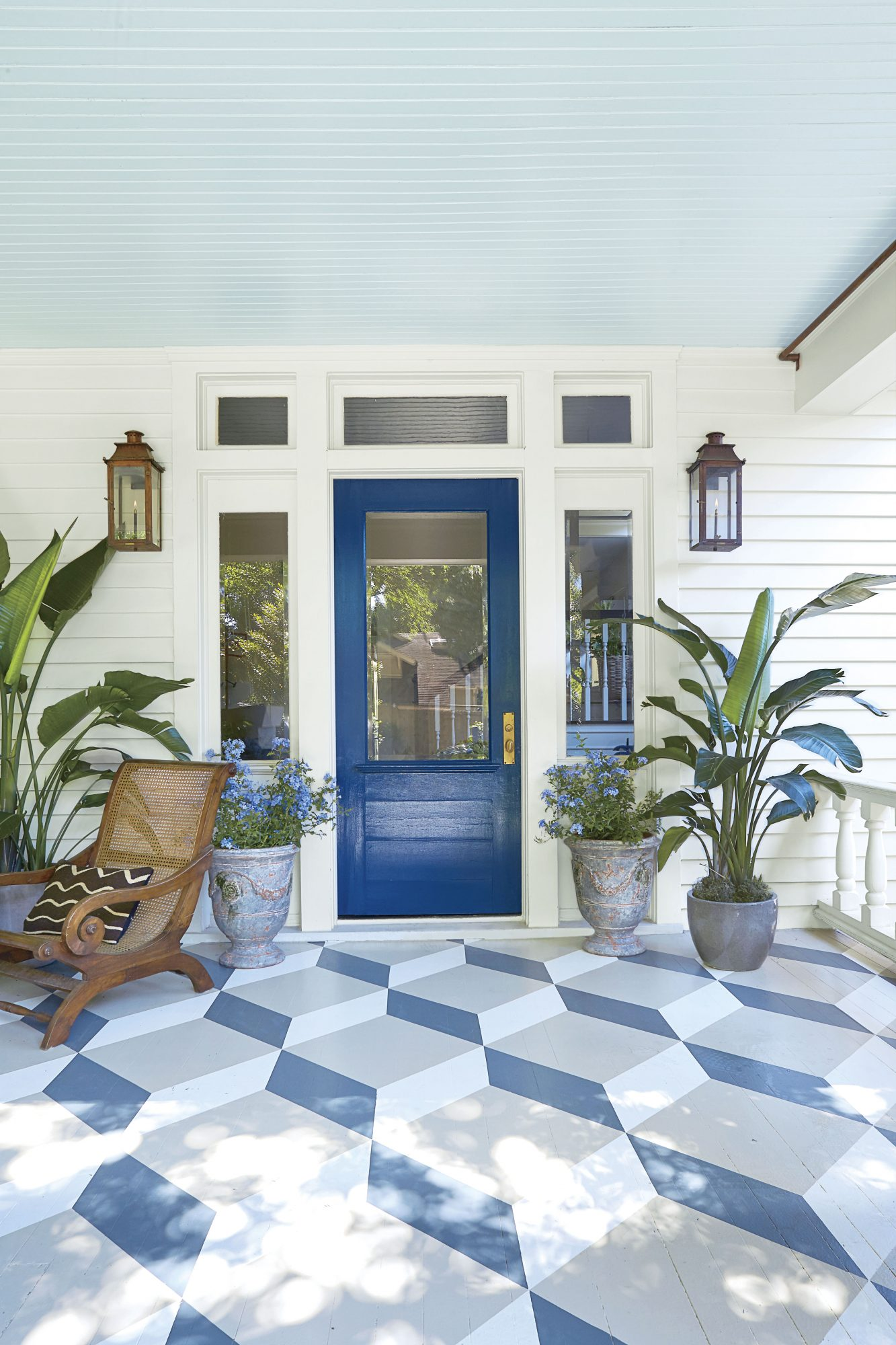 Craftsman House with Blue Front Door and Stenciled Floor